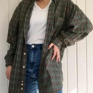Oversized green flannel